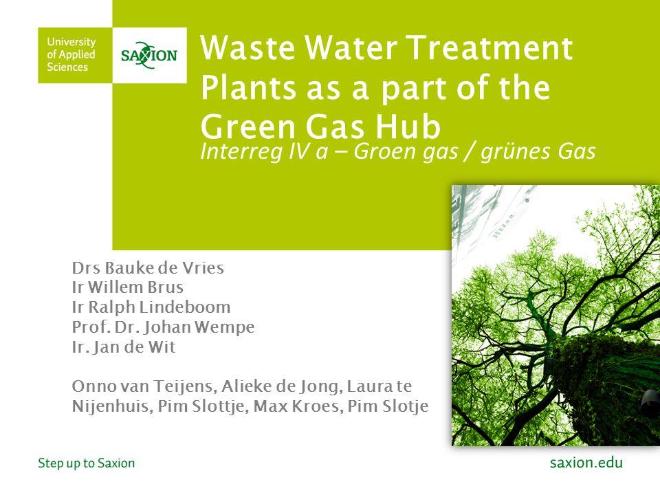 Waste Water Treatment Plants as a part of the Green Gas Hub Interreg IV a – Groen gas / grünes Gas Drs Bauke de Vries Ir Willem Brus Ir Ralph Lindeboo