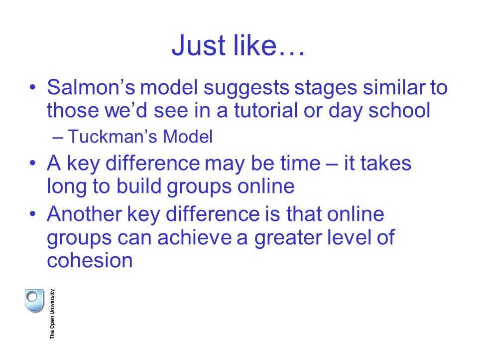Just like… Salmon's model suggests stages similar to those we'd see in a tutorial or day school –Tuckman's Model A key difference may be time – it takes long to build groups online Another key difference is that online groups can achieve a greater level of cohesion