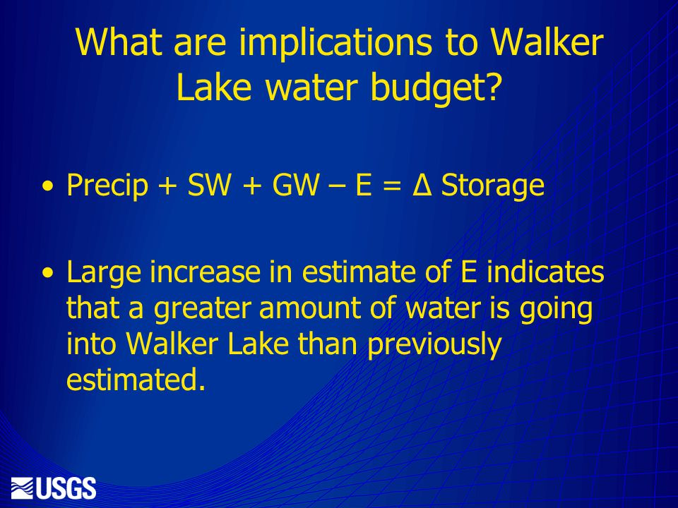 What are implications to Walker Lake water budget.