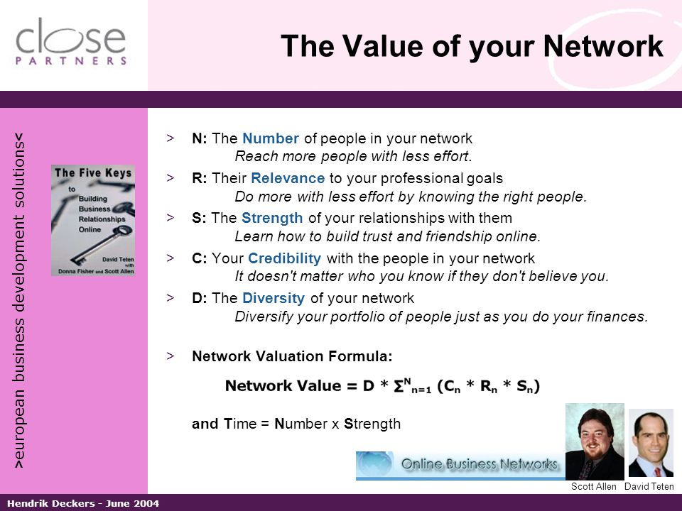 > european business development solutions < Hendrik Deckers - June 2004 The Value of your Network >N: The Number of people in your network Reach more people with less effort.