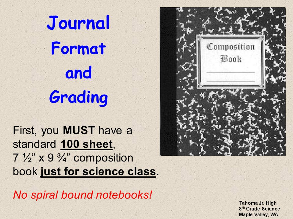 "Journal Format and Grading First, you MUST have a standard 100 sheet, 7 ½"" x 9 ¾"" composition book just for science class. No spiral bound notebooks!"