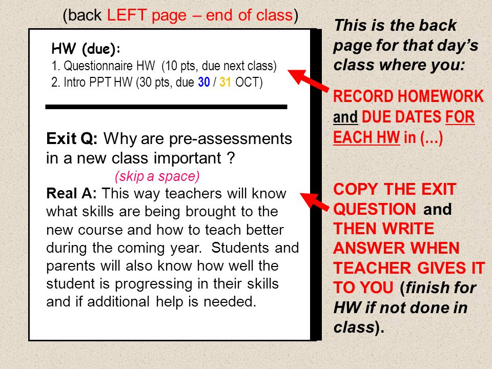 This is the back page for that day's class where you: RECORD HOMEWORK and DUE DATES FOR EACH HW in (…) COPY THE EXIT QUESTION and THEN WRITE ANSWER WH