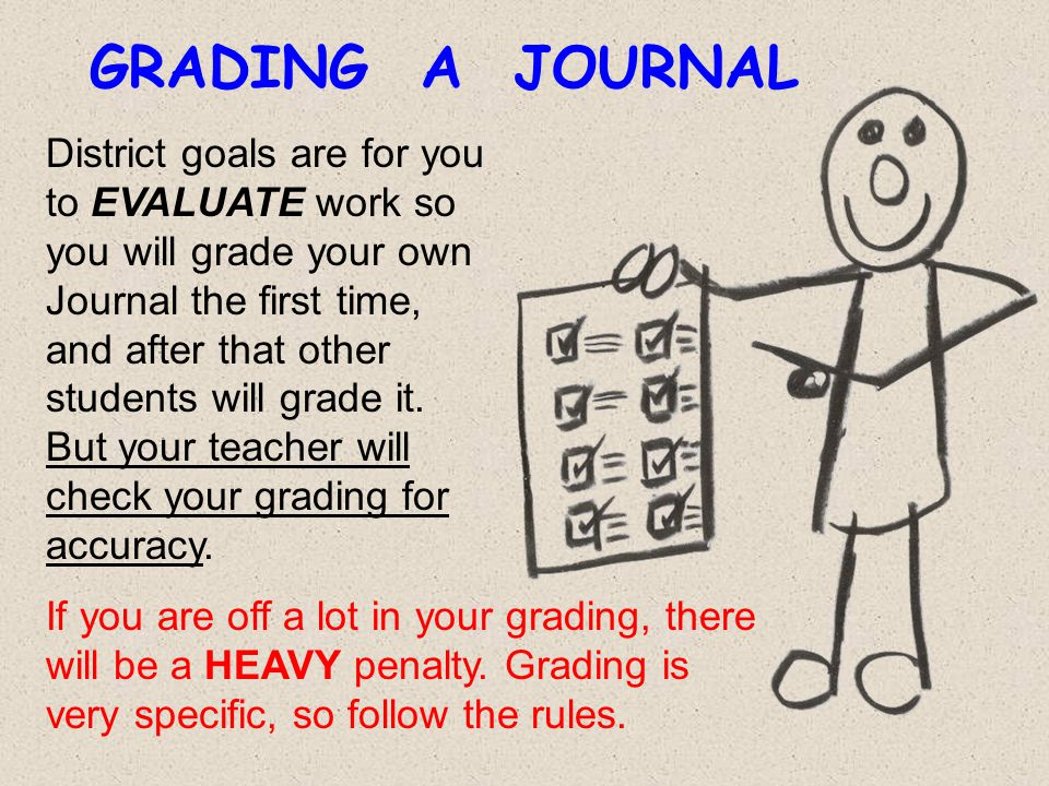 GRADING A JOURNAL District goals are for you to EVALUATE work so you will grade your own Journal the first time, and after that other students will gr