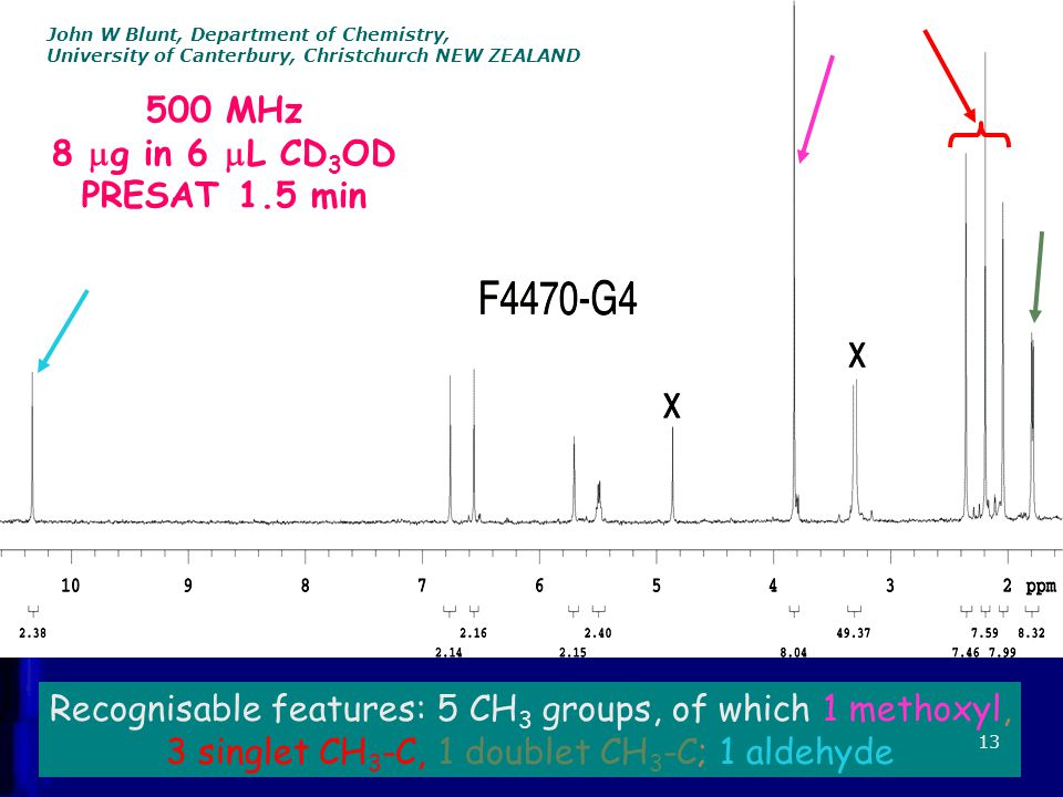 500 MHz 8  g in 6  L CD 3 OD PRESAT 1.5 min Recognisable features: 5 CH 3 groups, of which 1 methoxyl, 3 singlet CH 3 -C, 1 doublet CH 3 -C; 1 aldehyde 13 John W Blunt, Department of Chemistry, University of Canterbury, Christchurch NEW ZEALAND