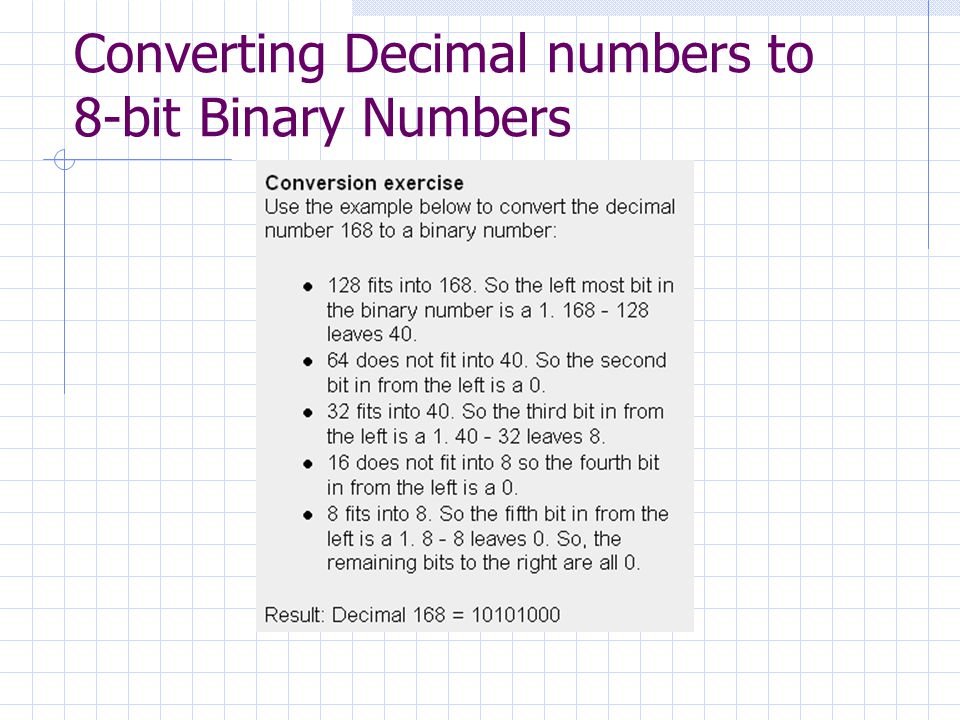 Converting Decimal numbers to 8-bit Binary Numbers