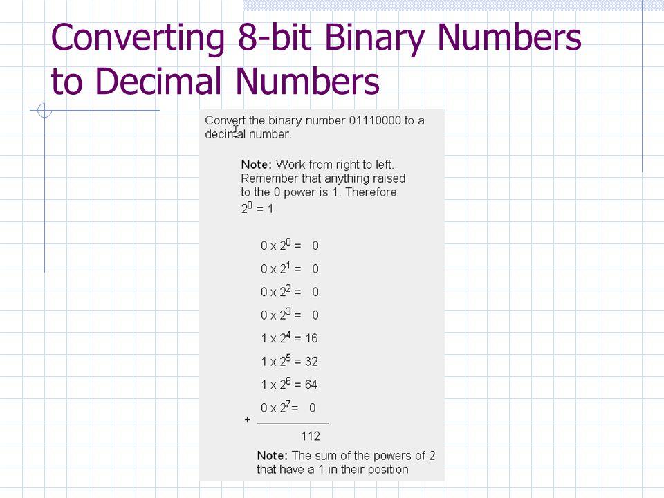 Converting 8-bit Binary Numbers to Decimal Numbers