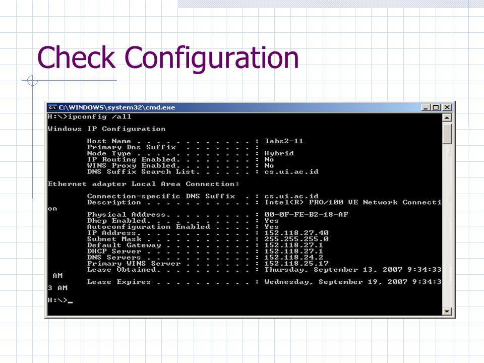 Check Configuration