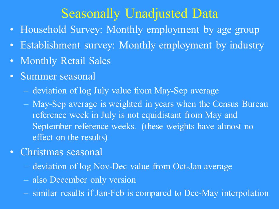 Seasonally Unadjusted Data Household Survey: Monthly employment by age group Establishment survey: Monthly employment by industry Monthly Retail Sales