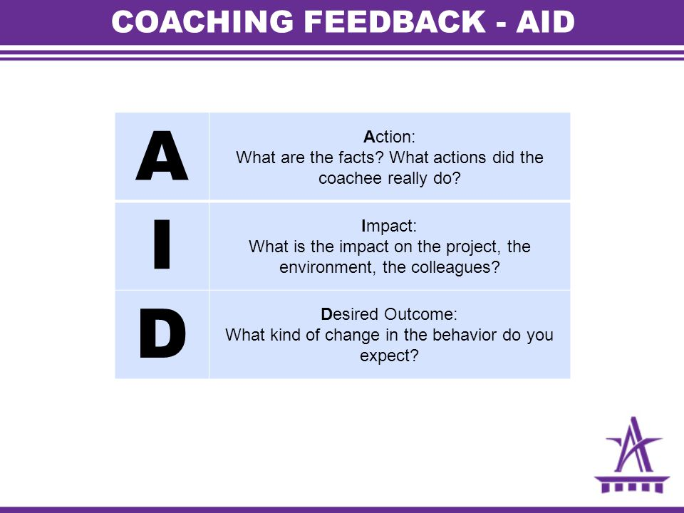 COACHING FEEDBACK - AID A Action: What are the facts? What actions did the coachee really do? I Impact: What is the impact on the project, the environ