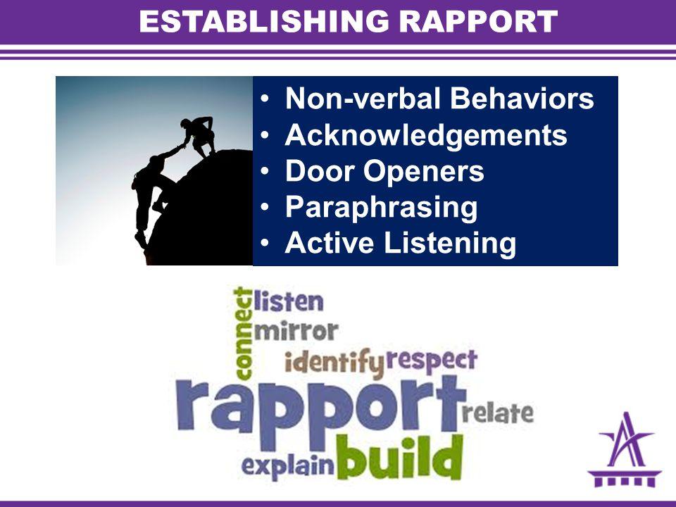 ESTABLISHING RAPPORT Non-verbal Behaviors Acknowledgements Door Openers Paraphrasing Active Listening