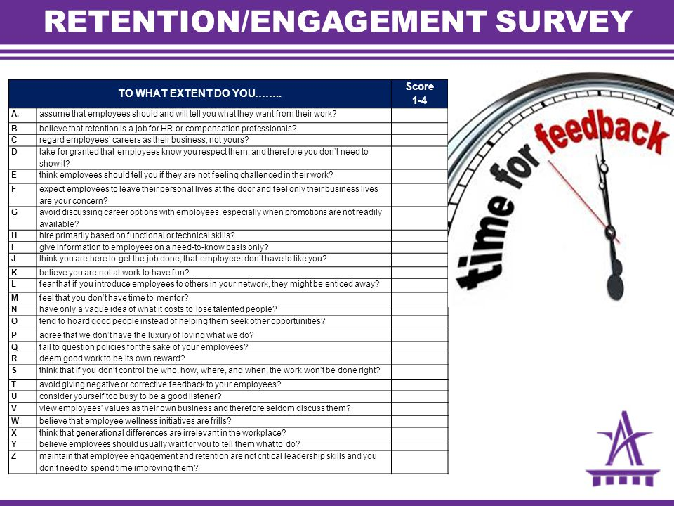 RETENTION/ENGAGEMENT SURVEY TO WHAT EXTENT DO YOU…….. Score 1-4 A.assume that employees should and will tell you what they want from their work? Bbeli