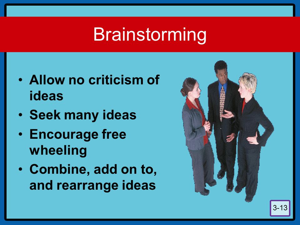 3-13 Brainstorming Allow no criticism of ideas Seek many ideas Encourage free wheeling Combine, add on to, and rearrange ideas