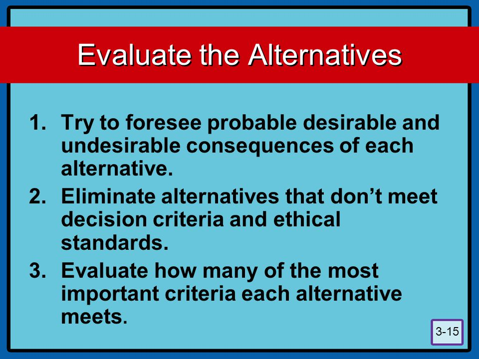 3-15 Evaluate the Alternatives 1.Try to foresee probable desirable and undesirable consequences of each alternative. 2.Eliminate alternatives that don