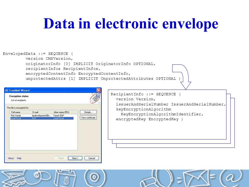 Data in electronic envelope EnvelopedData ::= SEQUENCE { version CMSVersion, originatorInfo [0] IMPLICIT OriginatorInfo OPTIONAL, recipientInfos RecipientInfos, encryptedContentInfo EncryptedContentInfo, unprotectedAttrs [1] IMPLICIT UnprotectedAttributes OPTIONAL } RecipientInfo ::= SEQUENCE { version Version, issuerAndSerialNumber IssuerAndSerialNumber, keyEncryptionAlgorithm KeyEncryptionAlgorithmIdentifier, encryptedKey EncryptedKey }