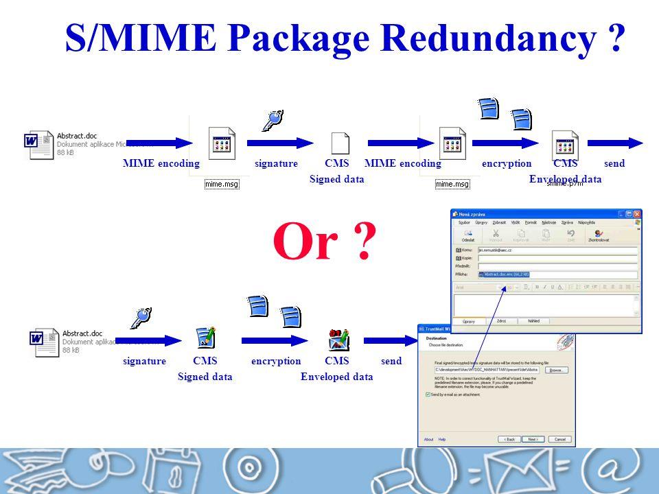 S/MIME Package Redundancy .signatureMIME encoding encryption signatureencryption Or .