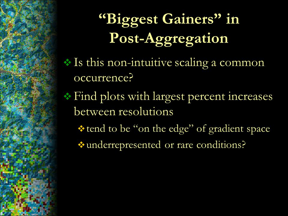 """Biggest Gainers"" in Post-Aggregation  Is this non-intuitive scaling a common occurrence?  Find plots with largest percent increases between resolut"
