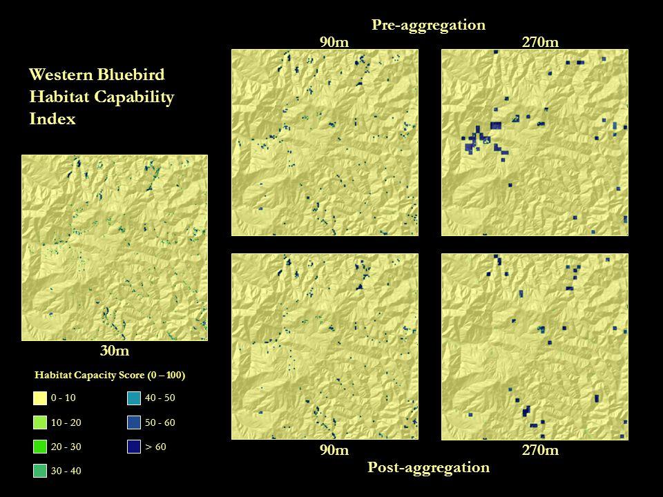 30m 90m270m 90m270m Pre-aggregation Post-aggregation Western Bluebird Habitat Capability Index 0 - 10 10 - 20 20 - 30 30 - 40 40 - 50 50 - 60 > 60 Habitat Capacity Score (0 – 100)