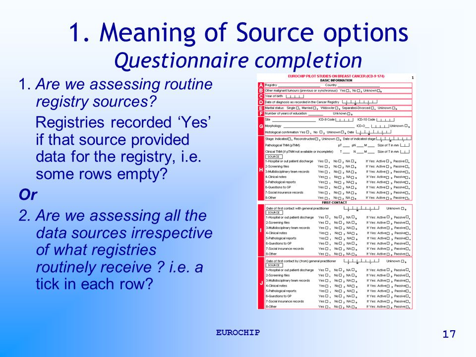 EUROCHIP 17 1. Meaning of Source options Questionnaire completion 1.