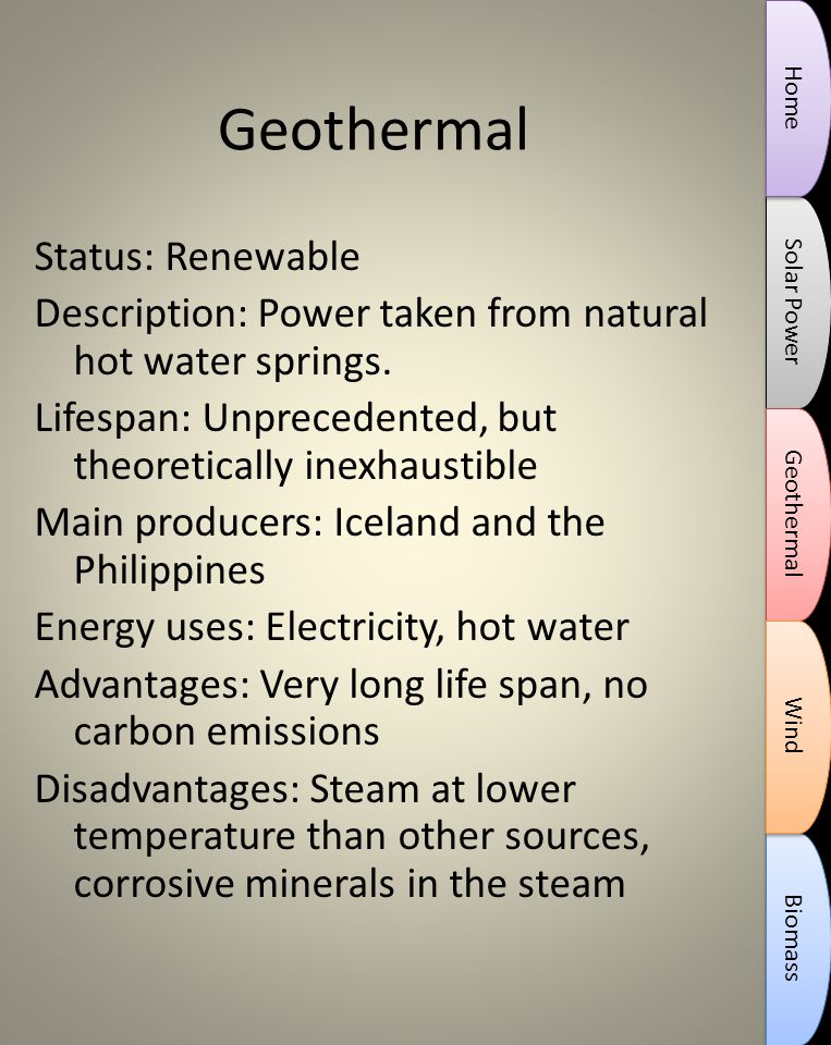Geothermal Status: Renewable Description: Power taken from natural hot water springs.