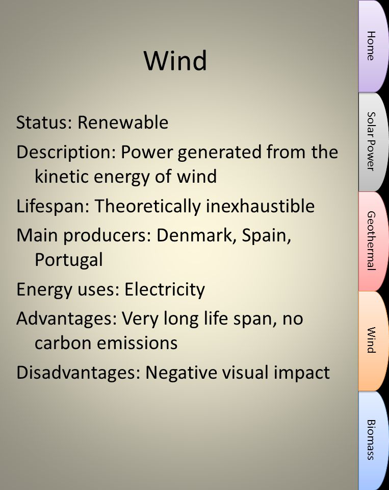Wind Status: Renewable Description: Power generated from the kinetic energy of wind Lifespan: Theoretically inexhaustible Main producers: Denmark, Spain, Portugal Energy uses: Electricity Advantages: Very long life span, no carbon emissions Disadvantages: Negative visual impact Solar Power Biomass Geothermal Wind Home