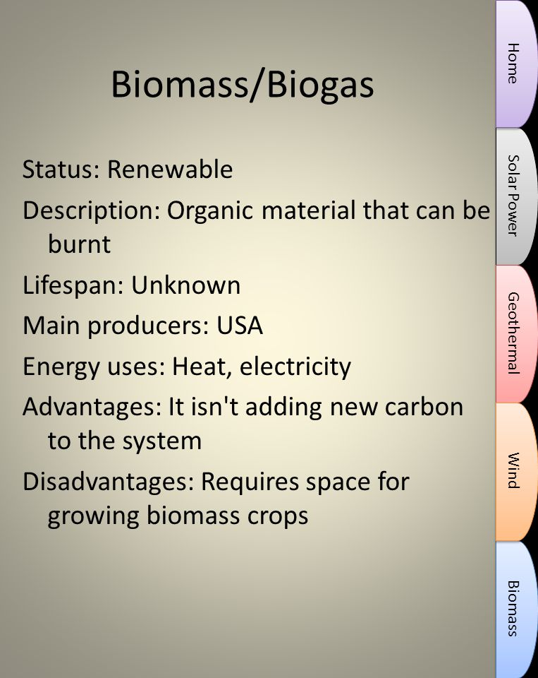 Biomass/Biogas Status: Renewable Description: Organic material that can be burnt Lifespan: Unknown Main producers: USA Energy uses: Heat, electricity Advantages: It isn t adding new carbon to the system Disadvantages: Requires space for growing biomass crops Solar Power Biomass Geothermal Wind Home