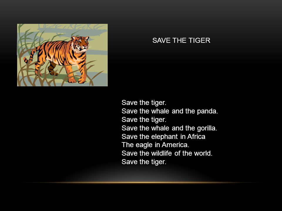 Save the tiger. Save the whale and the panda. Save the tiger.