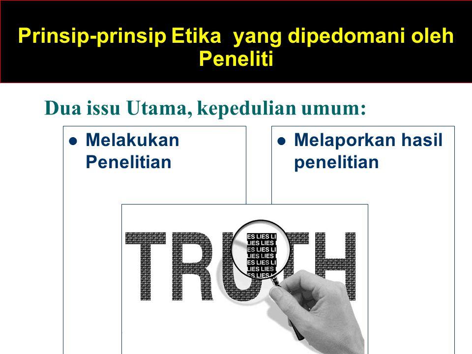 Melakukan Penelitian Melaporkan hasil penelitian Dua issu Utama, kepedulian umum: Prinsip-prinsip Etika yang dipedomani oleh Peneliti