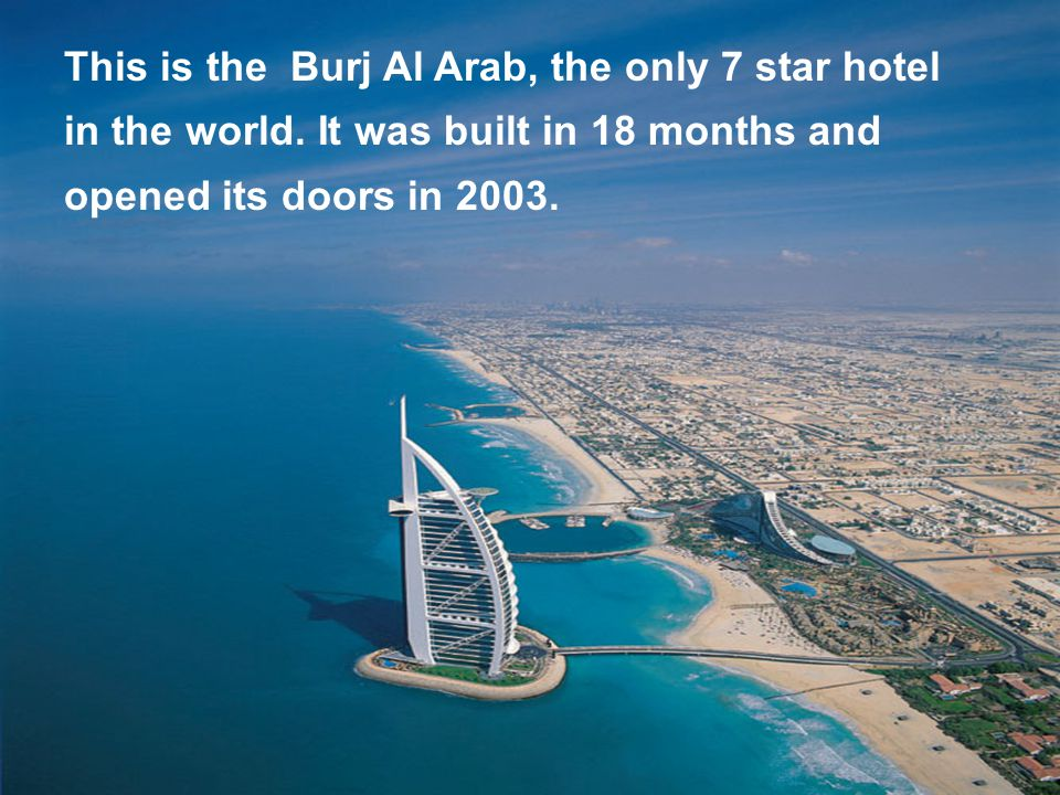 This is an aerial view. Look at the Hotel Burj Al Arab