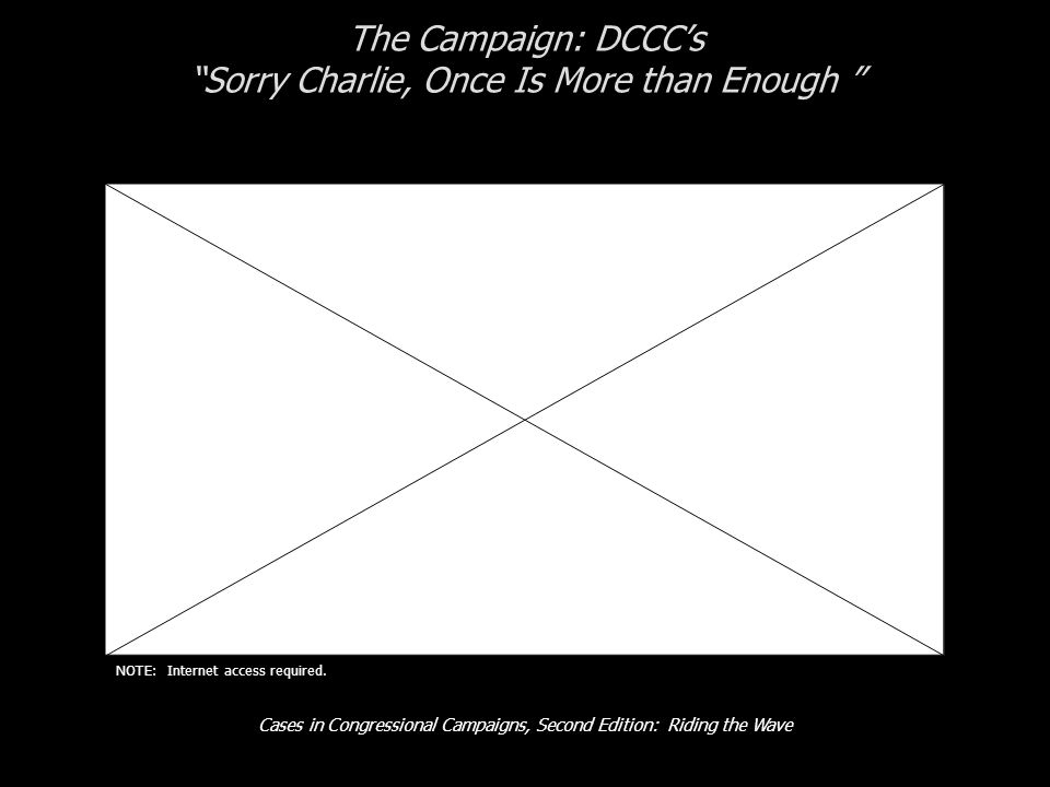 Cases in Congressional Campaigns, Second Edition: Riding the Wave The Campaign: DCCC's Sorry Charlie, Once Is More than Enough NOTE: Internet access required.