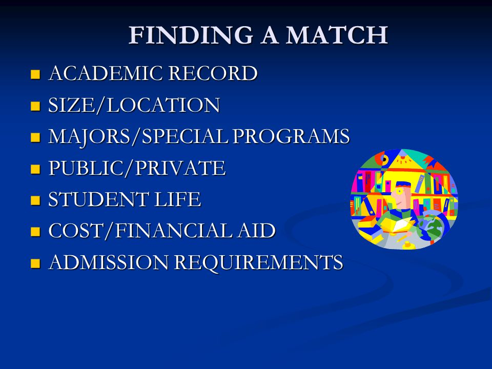FINDING A MATCH ACADEMIC RECORD ACADEMIC RECORD SIZE/LOCATION SIZE/LOCATION MAJORS/SPECIAL PROGRAMS MAJORS/SPECIAL PROGRAMS PUBLIC/PRIVATE PUBLIC/PRIVATE STUDENT LIFE STUDENT LIFE COST/FINANCIAL AID COST/FINANCIAL AID ADMISSION REQUIREMENTS ADMISSION REQUIREMENTS