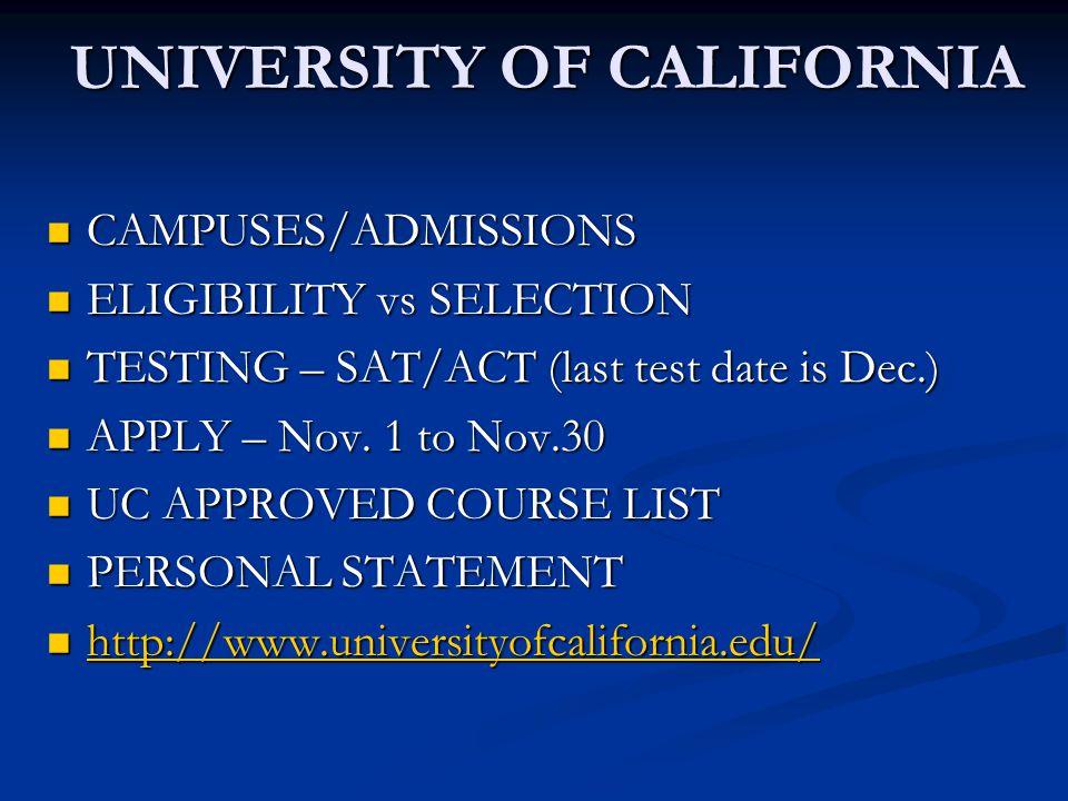 UNIVERSITY OF CALIFORNIA CAMPUSES/ADMISSIONS CAMPUSES/ADMISSIONS ELIGIBILITY vs SELECTION ELIGIBILITY vs SELECTION TESTING – SAT/ACT (last test date i