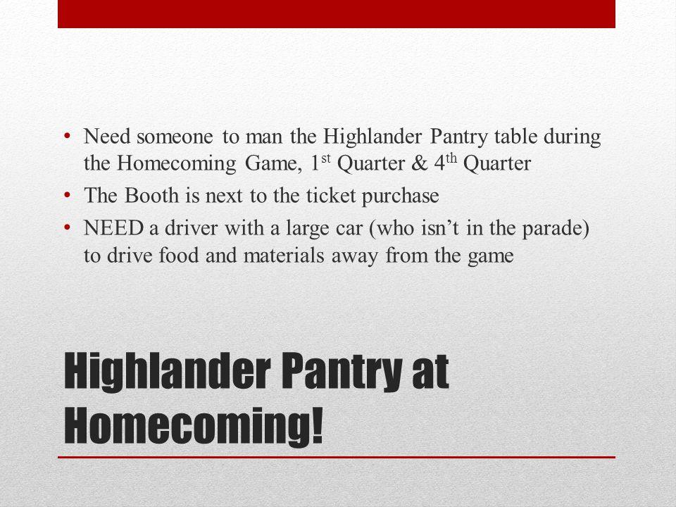 Highlander Pantry at Homecoming.