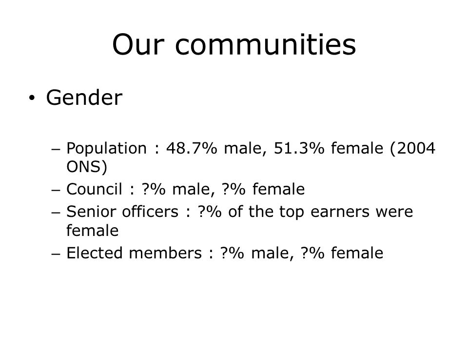 Our communities Gender – Population : 48.7% male, 51.3% female (2004 ONS) – Council : ?% male, ?% female – Senior officers : ?% of the top earners were female – Elected members : ?% male, ?% female