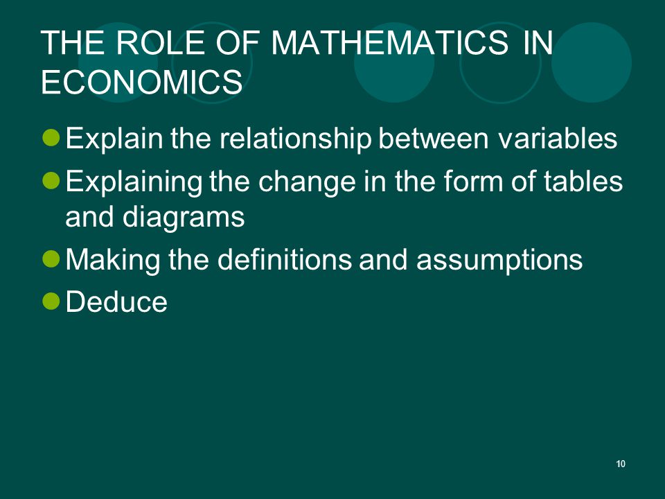 10 THE ROLE OF MATHEMATICS IN ECONOMICS Explain the relationship between variables Explaining the change in the form of tables and diagrams Making the