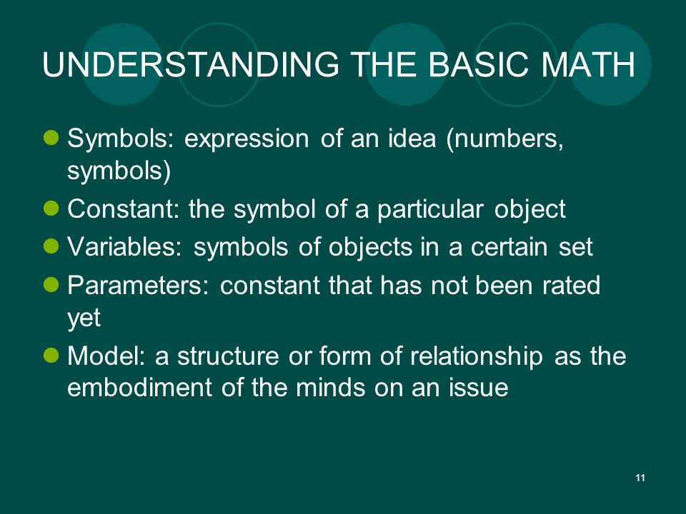 11 UNDERSTANDING THE BASIC MATH Symbols: expression of an idea (numbers, symbols) Constant: the symbol of a particular object Variables: symbols of objects in a certain set Parameters: constant that has not been rated yet Model: a structure or form of relationship as the embodiment of the minds on an issue