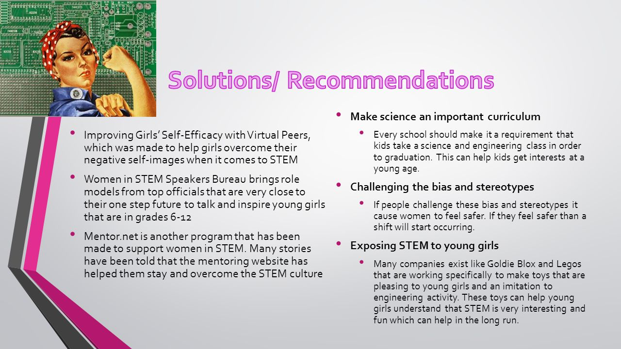 Improving Girls' Self-Efficacy with Virtual Peers, which was made to help girls overcome their negative self-images when it comes to STEM Women in STEM Speakers Bureau brings role models from top officials that are very close to their one step future to talk and inspire young girls that are in grades 6-12 Mentor.net is another program that has been made to support women in STEM.