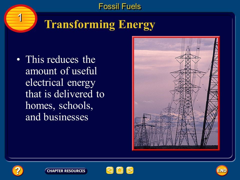 Sometimes energy is transformed into a form that isn't useful. For example, when an electric current flows through power lines, about 10 percent of th
