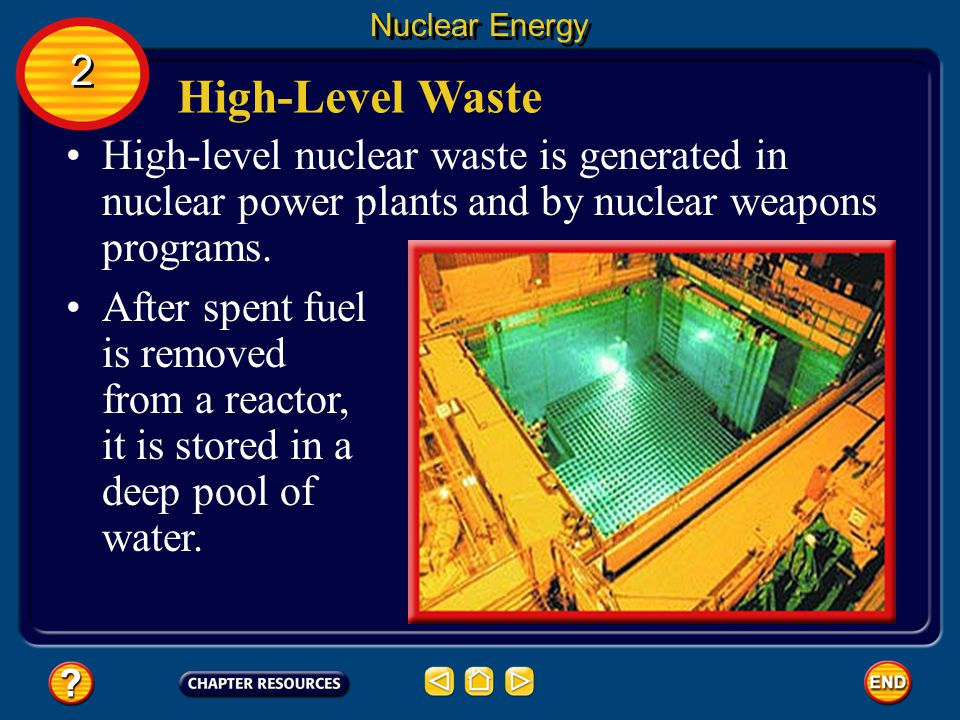 Nuclear Energy Low-Level Waste Low-level wastes usually are sealed in containers and buried in trenches 30 m deep at special locations. When diluted e