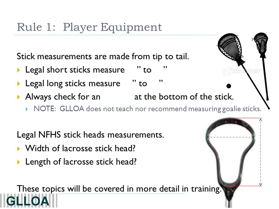 5 The NFHS rules specify that any crosse used in a faceoff may not have tape on the plastic throat of the crosse head.