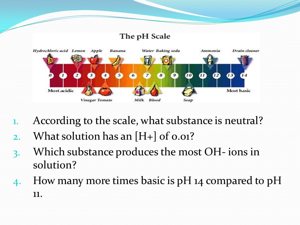 1. According to the scale, what substance is neutral? 2. What solution has an [H+] of 0.01? 3. Which substance produces the most OH- ions in solution?