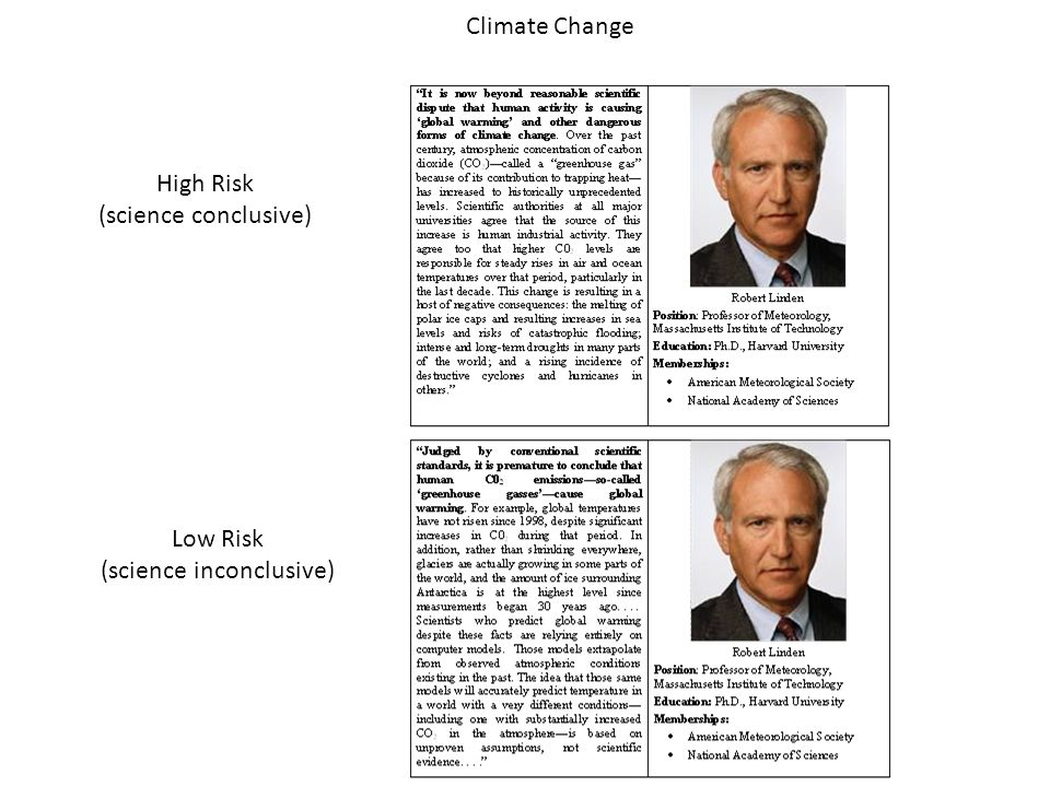 High Risk (science conclusive) Low Risk (science inconclusive) Climate Change