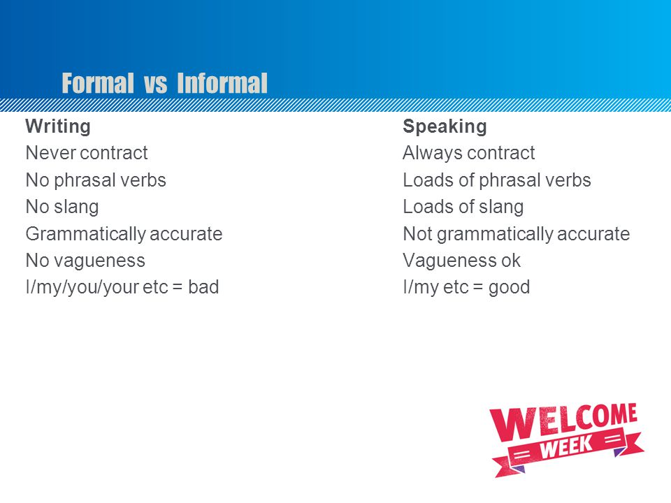 Formal vs Informal Writing Speaking Never contractAlways contract No phrasal verbsLoads of phrasal verbs No slang Loads of slang Grammatically accurateNot grammatically accurate No vaguenessVagueness ok I/my/you/your etc = badI/my etc = good