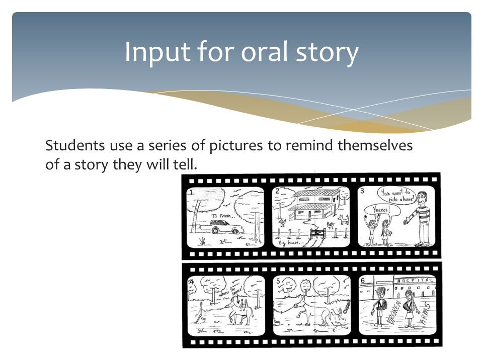 Students use a series of pictures to remind themselves of a story they will tell.