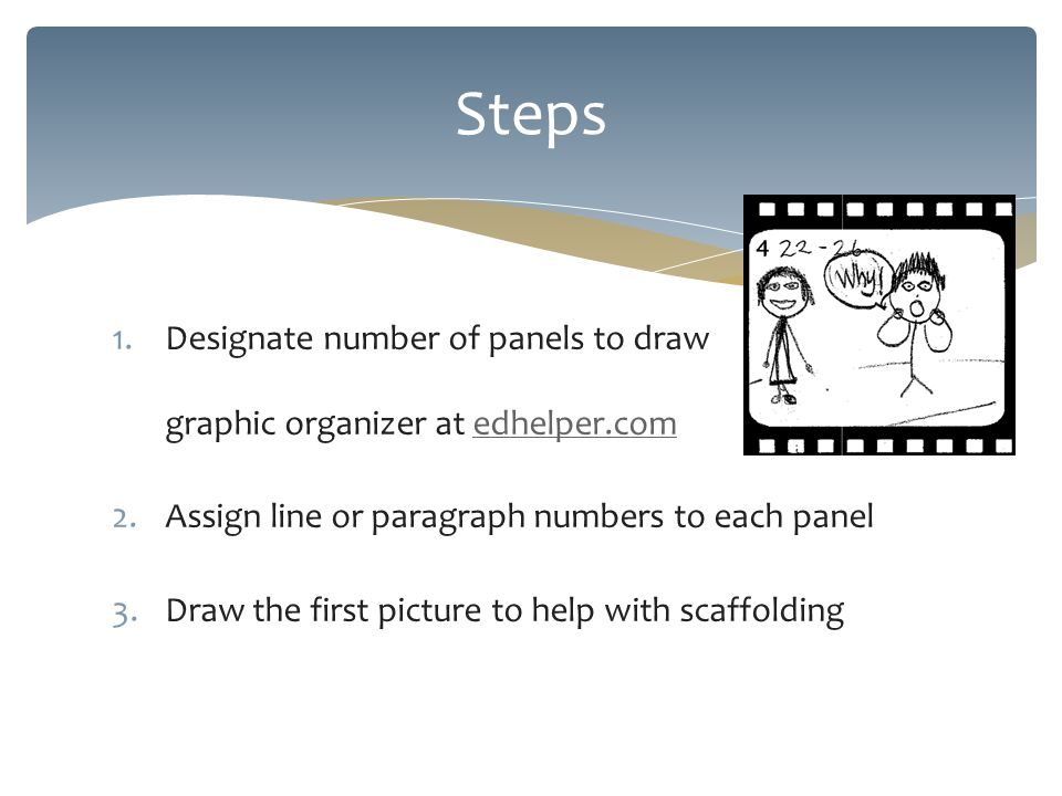 1.Designate number of panels to draw graphic organizer at edhelper.comedhelper.com 2.Assign line or paragraph numbers to each panel 3.Draw the first picture to help with scaffolding Steps