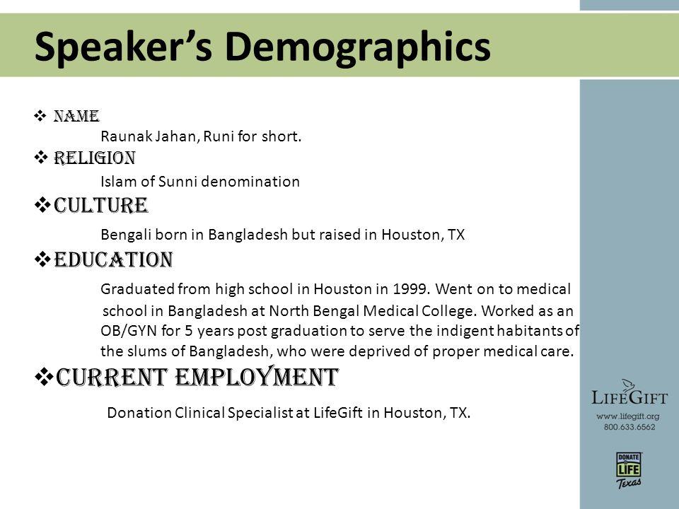 Speaker's Demographics  Name Raunak Jahan, Runi for short.
