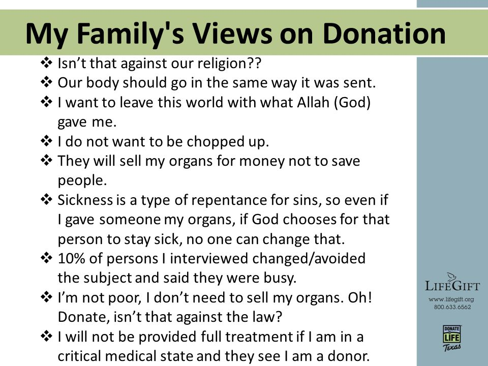 My Family s Views on Donation  Isn't that against our religion?.