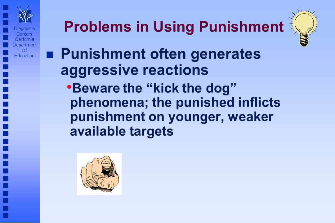"Diagnostic Centers California Department Of Education Problems in Using Punishment n Punishment often generates aggressive reactions Beware the ""kick"
