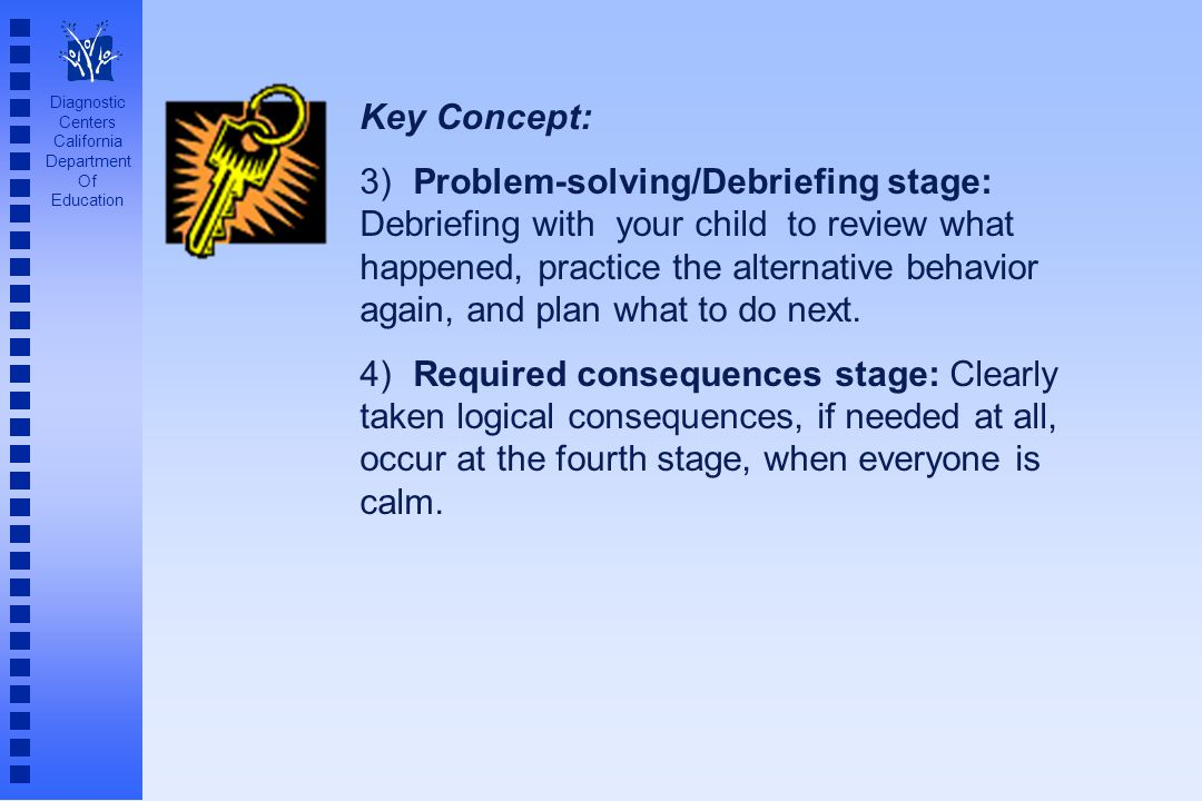 Diagnostic Centers California Department Of Education Key Concept: 3) Problem-solving/Debriefing stage: Debriefing with your child to review what happ