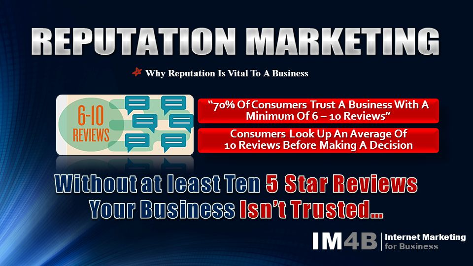 IM4B Internet Marketing for Business Why Reputation Is Vital To A Business 70% Of Consumers Trust A Business With A Minimum Of 6 – 10 Reviews Consumers Look Up An Average Of 10 Reviews Before Making A Decision