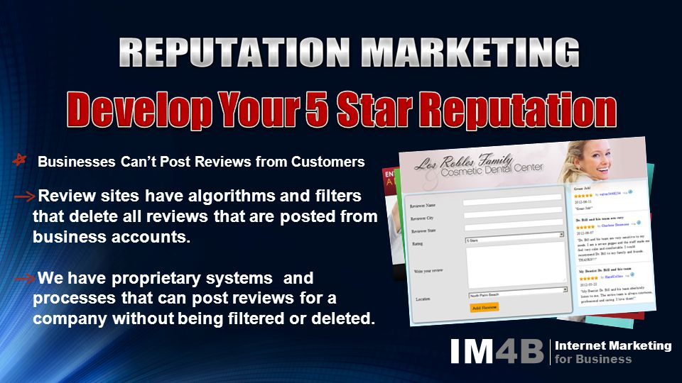 IM4B Internet Marketing for Business Review sites have algorithms and filters that delete all reviews that are posted from business accounts.